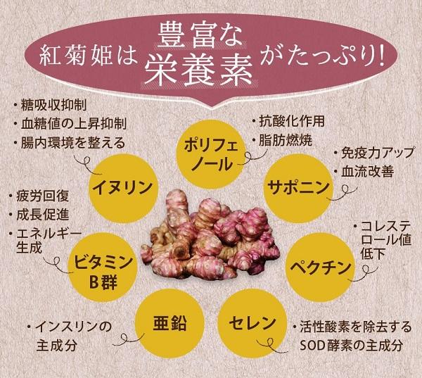 菊芋の効能成分表の紅菊姫イラスト。イヌリンの含有量が最も多い特殊な品種の菊芋で、赤菊芋、紅菊芋と呼ばれる無添加、天然のまま粉末パウダーにした、学会で血糖値上昇抑制の効果が発表された「紅菊姫」です。